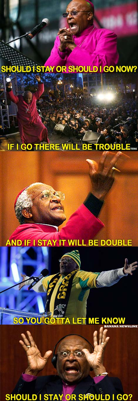 We've seen Tutu dance, and he's been known to protest, so we're certain he's a fan of The Clash.