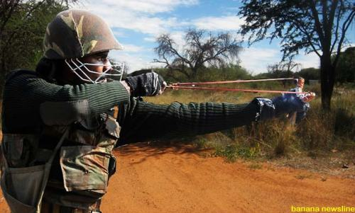 A soldier training at the SANDF Army Battle School Lohathla in the Northern Cape province.