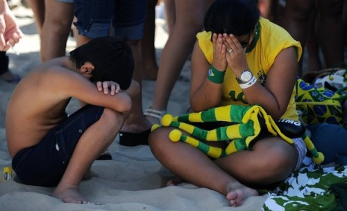 Brazilians in pain after the brutal German attack in Belo Horizonte.